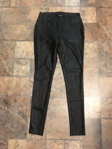 Faded Glory Women's Size S/CH 4/6 Black Leather Style Pants Leggings W/ Pockets