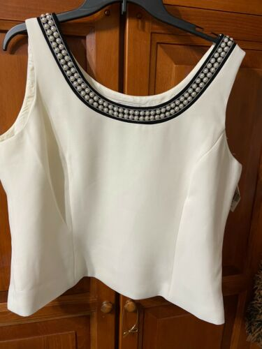 Womens Tahari Ivory Lined Sleeveless Pearled Neckline Top Sz 18