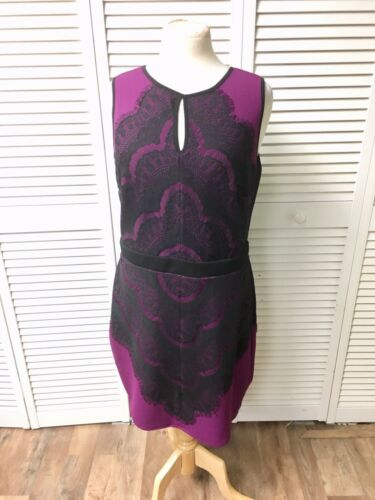 Thalia Sodi Women's Size Large Purple Dress W/ Black Lace Sleeveless, Zipper