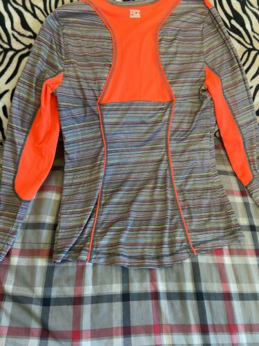 Womens Fila Grey Stripped With Neon Trim Long Sleeve Exercise Top Sz M