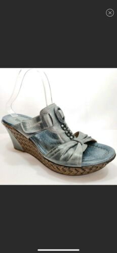 Womens Earth EDEN Leather Blue Wedges Slip On Sandals Sz9