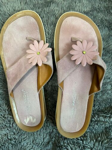 Womens Mila Paoli Made In Italy Pink Leather Flip Flops Sz 6.5