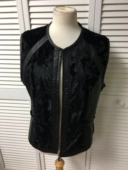 "Elliott Lauren Womens Size 42"" Chest Fake Fur Vest Zip Up Front"