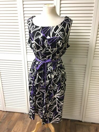 Dana Kay Women's Size 16W Sleeveless Dress W/ Belt Black W/ Purple/white Accents