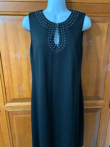 Women's Spense Dress Black With Rhinestone Trim At Neckline Sleveless Sz 10 NWT