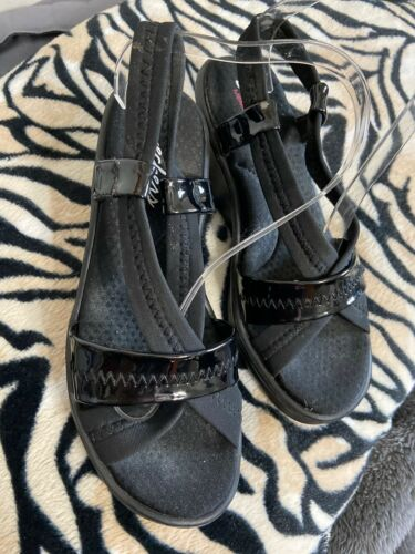 Womens Black Skechers Strappy Wedge Sandals Sz8