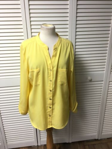 Covington Women's Size XL Yellow Long Sleeve Button-Down Blouse