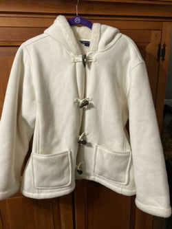 Womens Lands End Womens Faux Shearling Sherpa Lining Ivory Winter White L 14 16