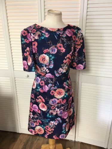 Betsy Johnson Women's Size 8 Short Sleeve Dress Multicolor Floral, Zipper Back