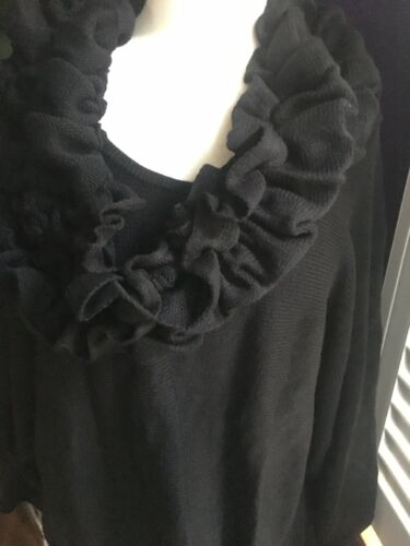 Alfani Women's Size 3X Black Long Sleeve Sweater W/ Detachable Ruffle Scarf NWT