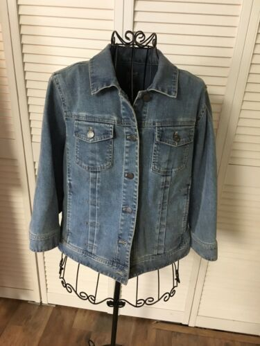 J Jill Women's Size Small Denim Blue Jean Jacket Stretch Button Down W/ Pockets