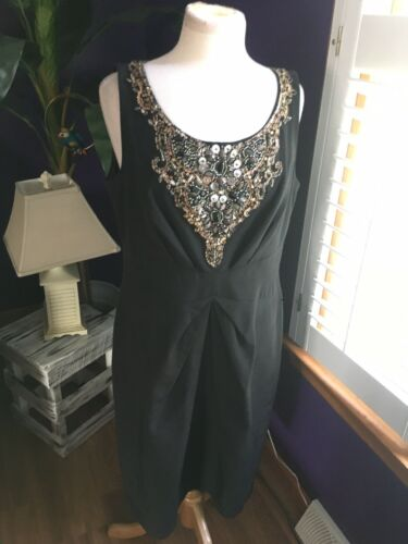 Lafayette 148 Women's Size 12 Black Sleeveless Dress With Beaded Neck Line