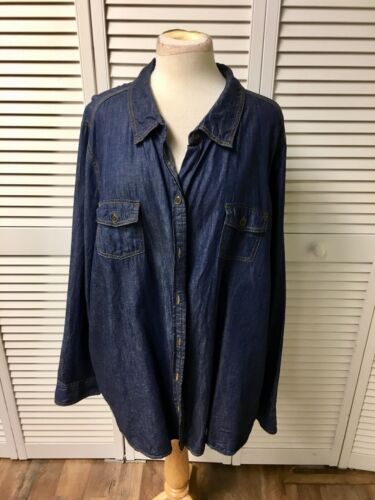 Faded Glory Women's Size 4X (24-26) Long Sleeve Blue Denim Style Button-Down