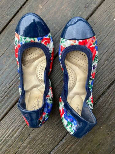 Womens Anne Klein Iflec Floral Ballet Shoes Sz7