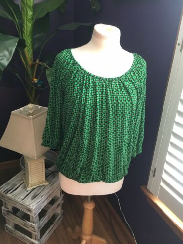 Michael Kors Women's Sz L Green Patterned Blouse 3/4 Lengh Sleeves W/ Elastic