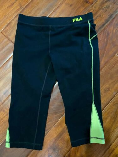 Womens Fila Black Capri Exercise Pants With Neon Yellow Trim S