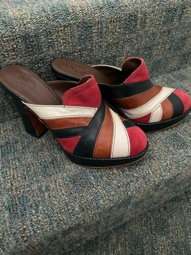 Womens Red White Brown Blue Clogs With Heels 9.5