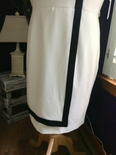 Calvin Klein Women's Size 14 White Dress W/ Black Stripe Business Casual NWT