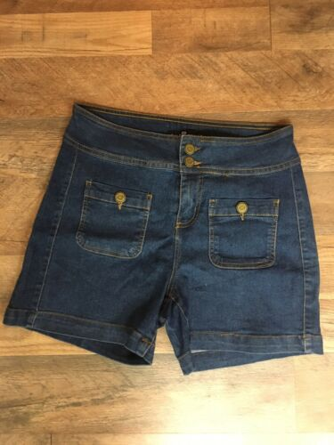 One 5 One Women's Size 4 Denim Blue Jean Shorts High Waist W/ Zipper And Buttons