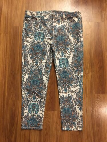 JCPennys Women's Size 16W Multicolored Patterned Pants W/ Pockets, Zipper Button