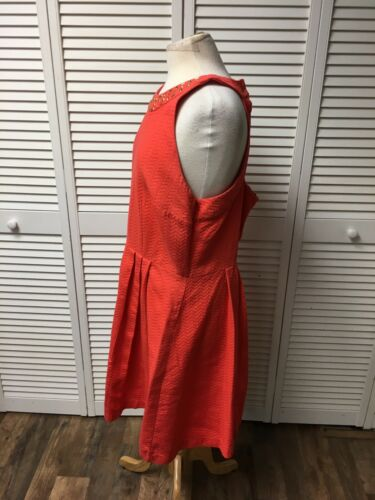 New York And Company Women's Size 18 Orange Sleeveless Dress W/ Beaded Neckline