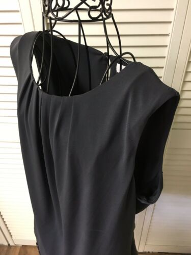 Calvin Klein Women's Size Large Sleeveless Charcoal Grey Blouse Pleated Neckline