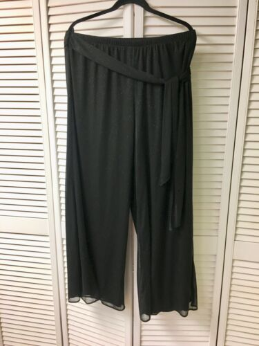 ONYX Nite Women's Size 1X Black Flowy Pants With Shear Sparkly Cover And Belt