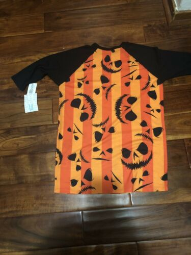 NWT Girls lularoe Halloween (sloan) 3/4 Scary Top/ Shirt Black Orange Sz 14
