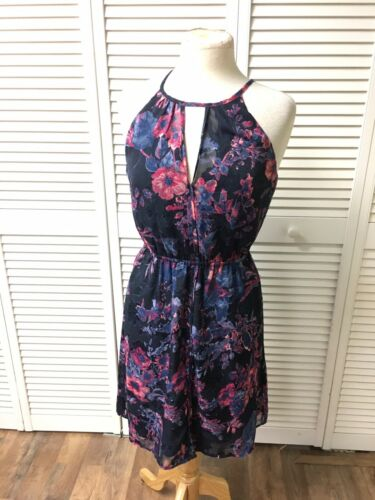 Lucky Brand Women's Sz S Pink/Blue Floral Sun Dress Elastic Waist Sleeveless NWT