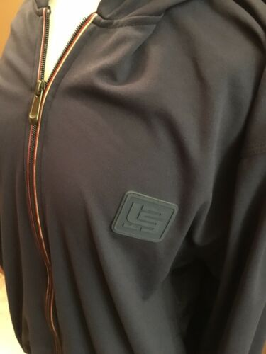 Nike Long Sleeve Zip Up Jacket Men's Size Small Navy Blue W/ Pockets And Hood