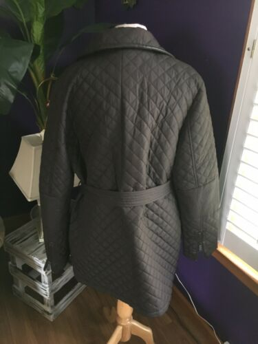 DKNY Women's Size XL Solid Brown Long Coat With Belt Zipper Closure