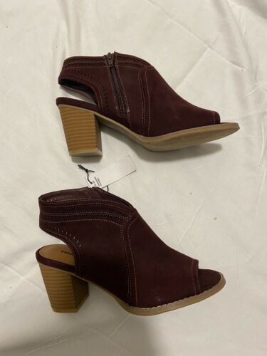 Womens Sonoma Thelmaburgundy Open Toe Ankle Boots Sz 7.5
