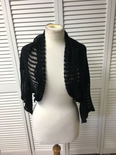 Joseph A. Women's Size Large Black Shaw, Open Front, W/ Lace Half Bell Sleeves