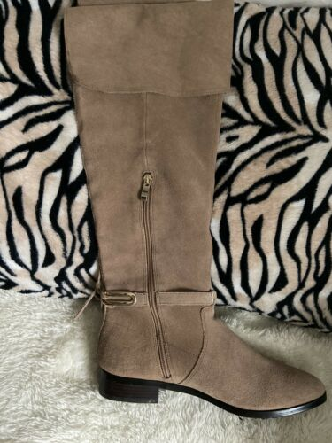 Womens Whitehouse Black Market Biege Colton Suede Over Knee Boots 8.5
