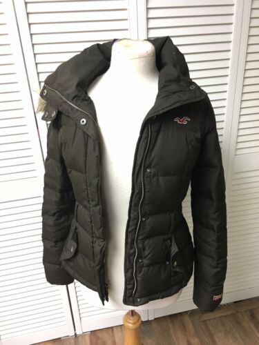 Hollister Juniors Size XS Brown Puffy Coat With Pockets And Removable Hood