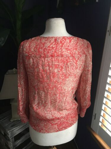 Lucky Brand Women's Size XS Long Sleeve Sheer Blouse V-Neck W/ Elastic Waist
