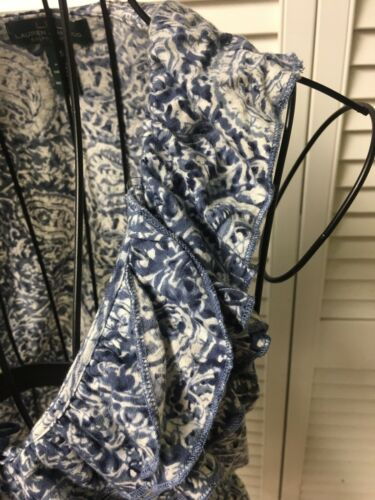 Lauren Ralph Lauren Women's Size XS Blue/White Sleeveless Blouse Ruffled V-Neck