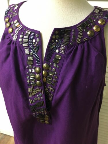 New York & Co Women's Size Large Purple Dress Sleeveless Beaded V-Neck NWT