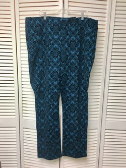 Chico's Sz 4 Women's 20T Blue Pants With Black Felt-feel Design Straight Leg NWT