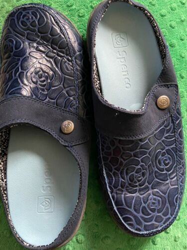 Womens Blue Leather Floral Clogs Mules Sz9