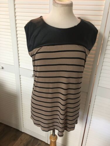 Cha Cha Vente Women's Size XL Beige/brown Stripes Shirt Sleeveless Blouse
