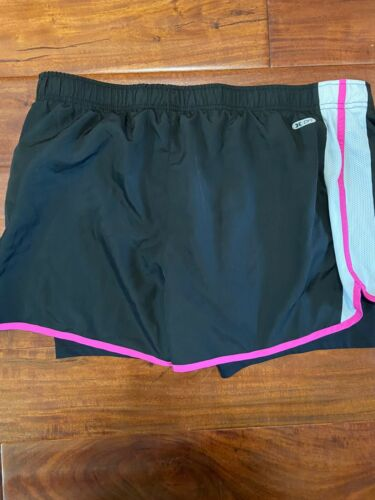 Womens Reebok Black White Pink Running Exercise Shorts Built In Liner XL