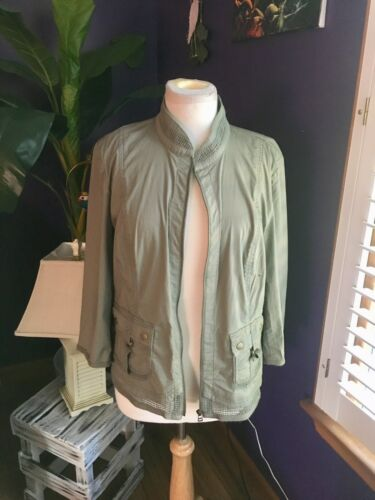Chicos Women's Size 2 Green Zip Up Long Sleeve Jacket With Pockets