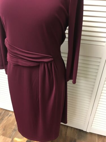 Talbots Women's Size Large Dress Long Sleeve Burgundy Zipper In Back NWT