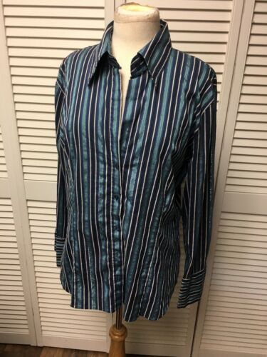 New York & Co Women's Size XL Striped Button-Down Blouse Stretch Long Sleeves
