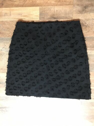 Loft Women's Size 4 Black Skirt Dot Circle Pattern Zipper In Back NWT