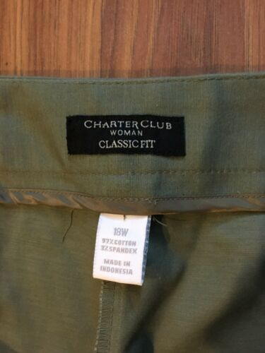 Charter Club Women's Classic Fit Size 18W Green Pants
