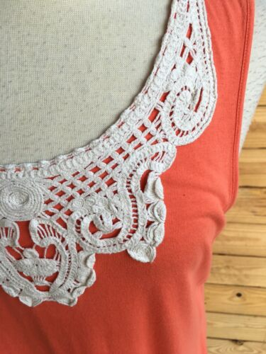 Style & Co Womens Size Large Orange Tank Top Blouse W/ Lace At Neckline