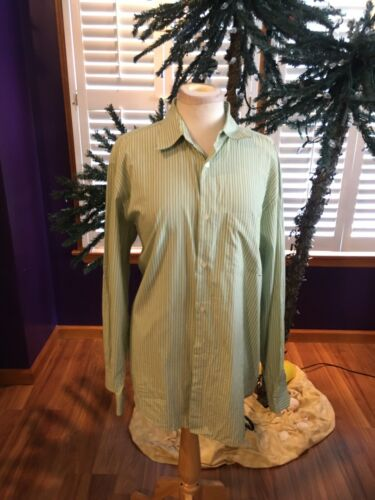 Banana Republic Women's Size Large Green Strip Long Sleeve Button Down Blouse