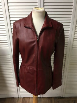 Alfani Outerwear Women's Size Small Red Leather Jacket Zipper Front With Pockets